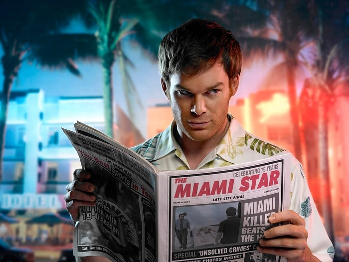 dexter morgan reading newspaper