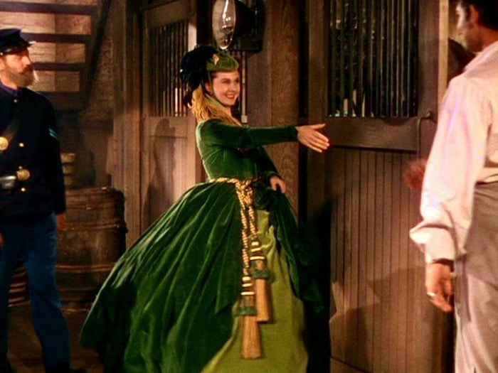 scarlett and her drapery dress