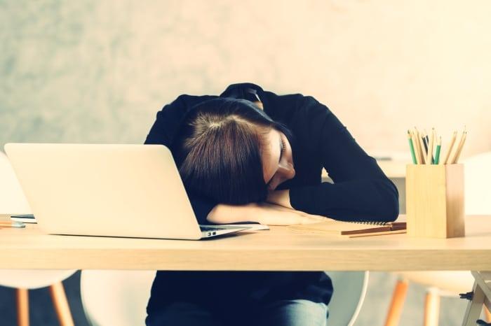 Sleeping woman at office