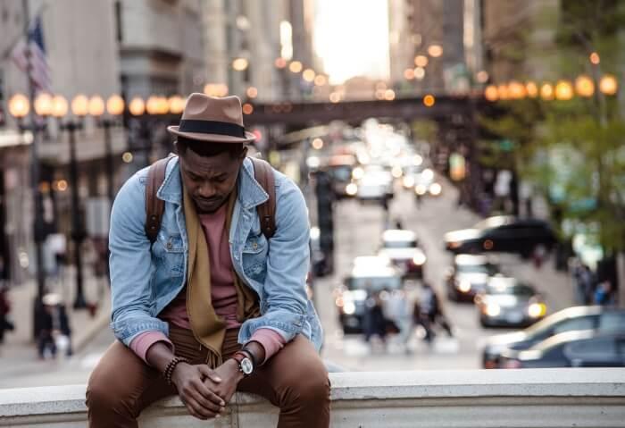 black man sad in chicago